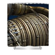 Close-up View Of A Rocket Engine Shower Curtain by Roth Ritter