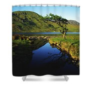 Co Galway, Kylemore Lough, Benbaun Shower Curtain by The Irish Image Collection