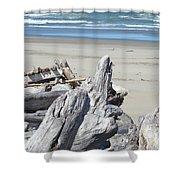 Coastal Driftwood Art Prints Blue Waves Ocean Shower Curtain by Baslee Troutman