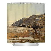 Coastal Scene Shower Curtain by Henry Moore