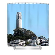 Coit Tower Shower Curtain by Henrik Lehnerer