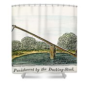 Colonial Ducking Stool Shower Curtain by Granger