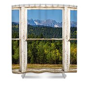 Colorado Indian Peaks Autumn Rustic Window View Shower Curtain by James BO  Insogna
