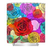 Colorful Floral Design Shower Curtain by Setsiri Silapasuwanchai