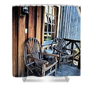 Come And Sit A While Shower Curtain by Sandi OReilly