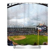 Comerica Park Home Of The Detroit Tigers Shower Curtain by Michelle Calkins