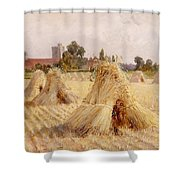 Corn Stooks By Bray Church Shower Curtain by Heywood Hardy