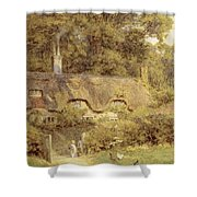 Cottage At Farringford Isle Of Wight Shower Curtain by Helen Allingham