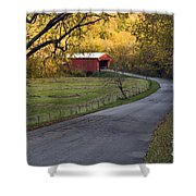 Country Lane - D007732 Shower Curtain by Daniel Dempster