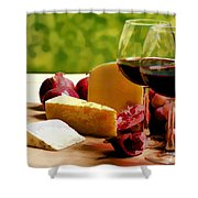 Countryside Wine  Cheese And Fruit Shower Curtain by Elaine Plesser
