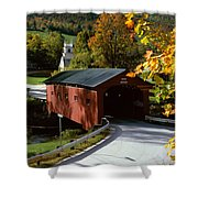 Covered Bridge in Vermont Shower Curtain by Rafael Macia and Photo Researchers