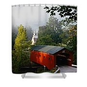 Covered Bridge Shower Curtain by Rafael Macia and Photo Researchers