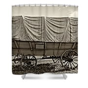 Covered Wagon Sepia Shower Curtain by Steve Harrington