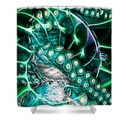 Creatures of The Deep - Octopus Caught In The Swirl Of The Giant Nautilus - Electric - Cyan Shower Curtain by Wingsdomain Art and Photography