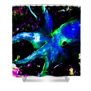 Creatures of The Deep - The Octopus - v3 - Electric - Blue Shower Curtain by Wingsdomain Art and Photography
