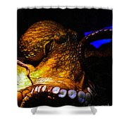 Creatures Of The Deep - The Octopus - V6 - Gold Shower Curtain by Wingsdomain Art and Photography