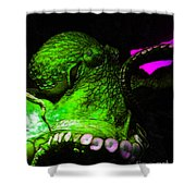 Creatures of The Deep - The Octopus - v6 - Green Shower Curtain by Wingsdomain Art and Photography