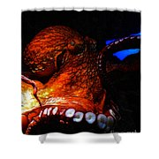 Creatures of The Deep - The Octopus - v6 - Orange Shower Curtain by Wingsdomain Art and Photography
