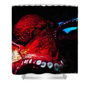Creatures Of The Deep - The Octopus - V6 - Red Shower Curtain by Wingsdomain Art and Photography