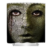 Creepy Cracked Face With Tears Shower Curtain by Jill Battaglia