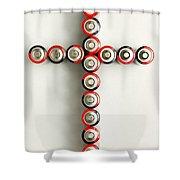Cross Batteries 1 A Shower Curtain by John Brueske