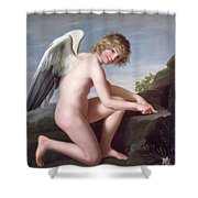 Cupid Sharpening His Arrows Shower Curtain by Robert Lefevre