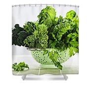 Dark Green Leafy Vegetables In Colander Shower Curtain by Elena Elisseeva