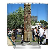 Death Of A Wood Carver Shower Curtain by Kym Backland