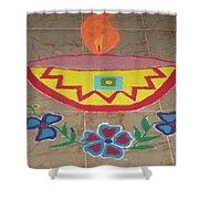 Decorative Earthen Diya Rangoli Shower Curtain by Sonali Gangane