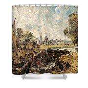 Dedham Lock Shower Curtain by John Constable