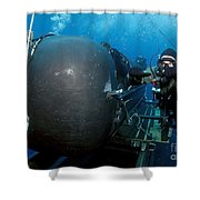 Divers Prepare To Launch A Seal Shower Curtain by Stocktrek Images