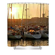Docked Yachts Shower Curtain by Carlos Caetano