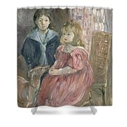 Double portrait of Charley and Jeannie Thomas Shower Curtain by Berthe Morisot