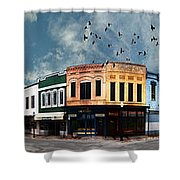 Downtown Bryan Texas Panorama 5 To 1 Shower Curtain by Nikki Marie Smith