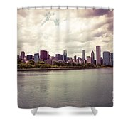 Downtown Chicago Skyline Lakefront Shower Curtain by Paul Velgos