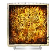 Dragon painting on old paper Shower Curtain by Setsiri Silapasuwanchai