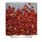 Dried Chili Peppers Shower Curtain by Carlos Caetano