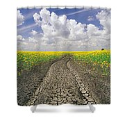 Dried Up Machinery Tracks Shower Curtain by Dave Reede