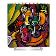 Drinks Shower Curtain by Leon Zernitsky