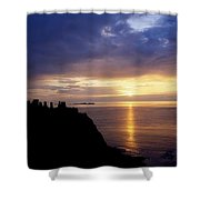 Dunluce Castle At Sunset, Co Antrim Shower Curtain by The Irish Image Collection