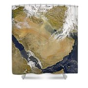 Dust And Smoke Over Iraq And The Middle Shower Curtain by Stocktrek Images