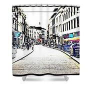 Dutch Shopping Street- Digital Art Shower Curtain by Carol Groenen