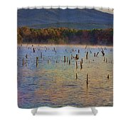 Early Morning Color Of Lake Wilhelmina-arkansas Shower Curtain by Douglas Barnard