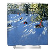 Early Snow Shower Curtain by Andrew Macara
