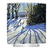 Early Snow Darley Park Shower Curtain by Andrew Macara