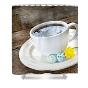 Easter Coffee Shower Curtain by Darren Fisher