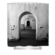 El Morro Fort Barracks Arched Doorways San Juan Puerto Rico Prints Black and White Shower Curtain by Shawn O'Brien