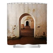 El Morro Fort Barracks Arched Doorways San Juan Puerto Rico Prints Shower Curtain by Shawn O'Brien