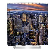 Electric Nyc Shower Curtain by Kelley King