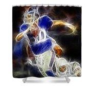 Eli Manning Quarterback Shower Curtain by Paul Ward
